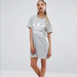 ADIDAS- grey pattered t-shirt logo dress